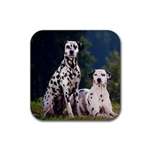 Cute Two Dalmatians Puppy Puppies Dogs Pet Animal (Square) Rubber Coaster - $1.99