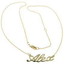 18K YELLOW GOLD NAME NECKLACE, ALEX, MINI ROLO CHAIN 0.5mm 42 cm, MADE IN ITALY image 1