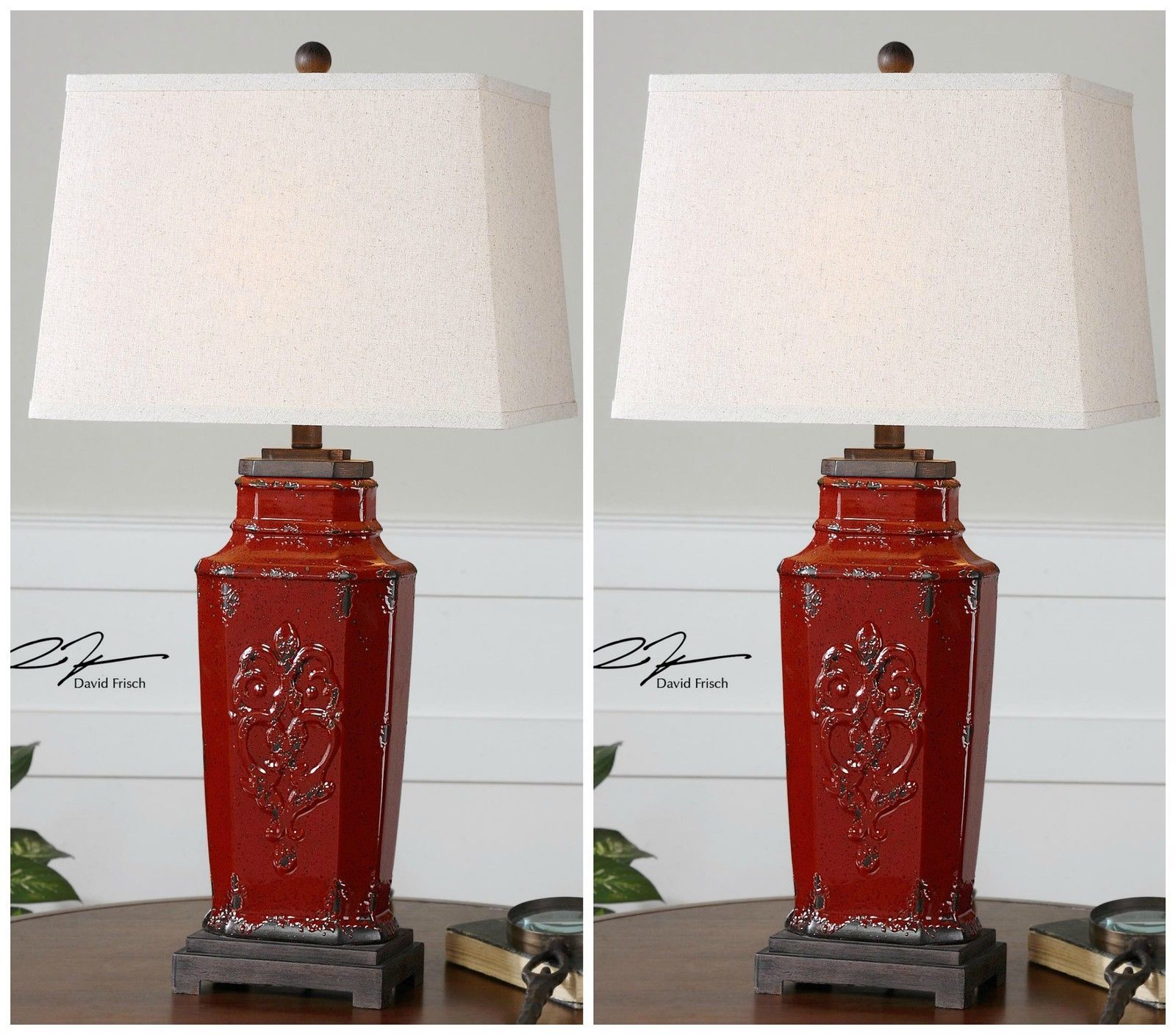 """Total Home Decor: PAIR XXL 31"""" VINTAGE FRENCH EMBOSSED AGED RED CERAMIC"""