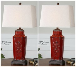 """PAIR XXL 31"""" VINTAGE FRENCH EMBOSSED AGED RED CERAMIC TABLE LAMPS - $391.60"""