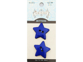 Hobby Lobby Sew-ology Blue Star Buttons, Set of 2