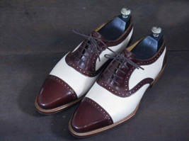 Handmade Men's Two Tone Leather Lace Up Dress/Formal Oxford Shoes image 4