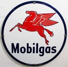 "Mobilgas Gasoline Porcelain Sign 12"" Round - $45.00"