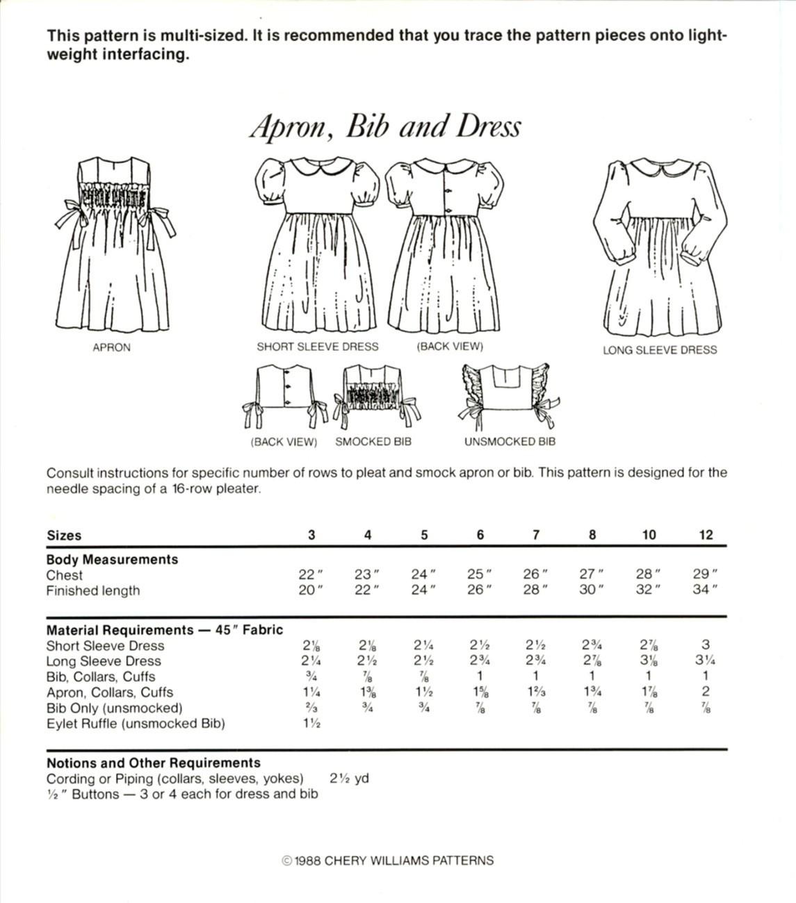 Uncut Size 3 to 12 Smocked Apron Bib Dress Cherry Williams Pattern Smocking
