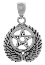 Jewelry Trends Sterling Silver Pentacle with Wings Pendant - $20.99