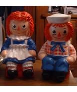 "Raggedy Ann & Raggedy Andy Plastic Toy 11"" Banks Vintage 1970's - $195.00"
