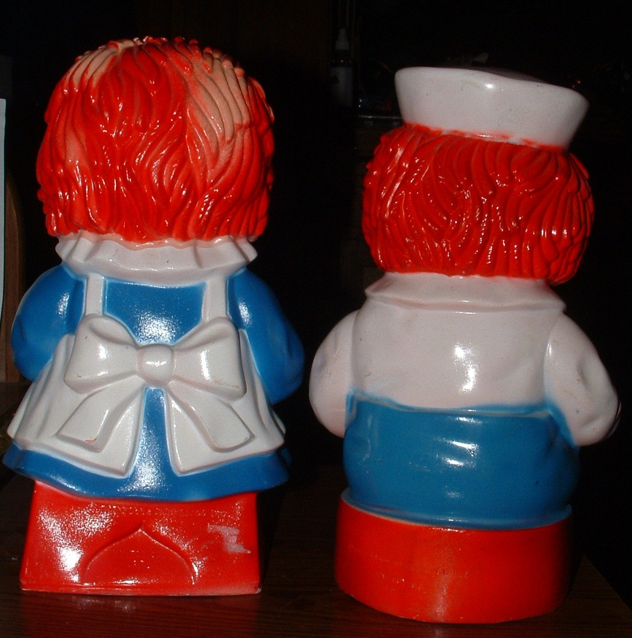"Raggedy Ann & Raggedy Andy Plastic Toy 11"" Banks Vintage 1970's"