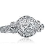 Round Diamond 1.58 Ct Engagement Halo Ring Millgrain Edged 14k White Gol... - $3,321.81