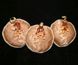 Set #1 - 3 Round Tapestry Christmas Ornaments with Amber Beads - $8.98