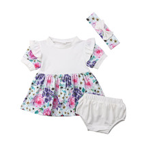 Newborn Baby Girl Clothes Floral Ruffle Top Tutu Dress Solid Shorts Bloo... - $12.39