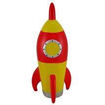 Red and Yellow Rocket Ship Coin Bank - $19.79