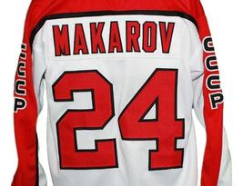 Any Name Number CCCP Russia Retro Hockey Jersey White Makarov #24 Any Size image 4