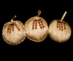 Set #2 - 3 Round Tapestry Christmas Ornaments with Brown Beads - $8.98