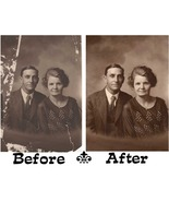 Old Photo Restoration Circa 1920 Portrait of Arthur Whitehead and Wife  - $69.98