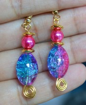 Handmade Pink Blue Mix Crackled Glass Oval Bead Pink Pearl Gold Plated E... - $12.99