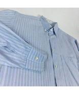 Giorgio Armani Blue White Striped Dress Shirt 15 1/2 32 - 33 Cuff Collar - $48.99