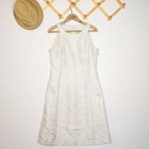 Ann Taylor Gold Brocade Dress Size 8 Sleeveless Cream Knee Length Shift - $24.99