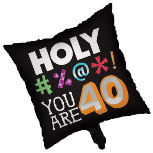 "Primary image for Holy Bleep You're 40 Over Hill 40th Birthday Party Decoration 18"" Mylar Balloon"