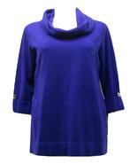 JM Collection Women's PLUS SIZE Cowl Neck Sweater Solid Blue 1X - $69.97