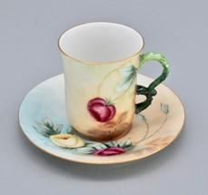Antique J Pouyat Limoges France - Demitasse Cup Saucer Handpainted Flora... - $149.00