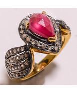 Antique Inspire 1.42Ct Genuine Rose Cut Diamond 925 Silver Ruby Ring CSJ148 - £190.66 GBP