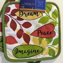 KITCHEN LINENS SET 4pc Towels Potholders Dream Peace Imagine Green Red image 5
