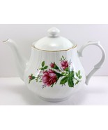 Lynns Victorian Rose Teapot White Swirled with Pink Moss Roses 4 Cup - $25.74