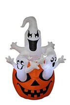 BZB Goods 5 Foot Tall Halloween Inflatable Three Ghosts with Pumpkin LED... - $88.96