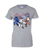 Firework Red White And Blue Turtles American Flag Ladies T-Shirt S-3XL - $18.76