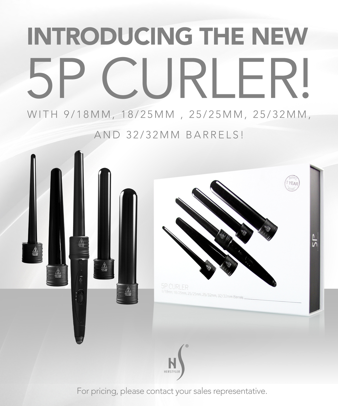 Herstyler 5 in 1 Curling Wand Set | Hair Curler Set with Two Temperature Setting