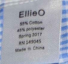 Ellie O Gingham Full Lined Longall Size 2 Color Blue Cotton Polyester Blend image 6