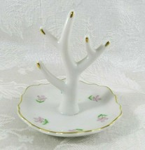 Vintage Ceramic Jewelry Holder White Floral Gold Accent I. W. Rice Japan - $15.83