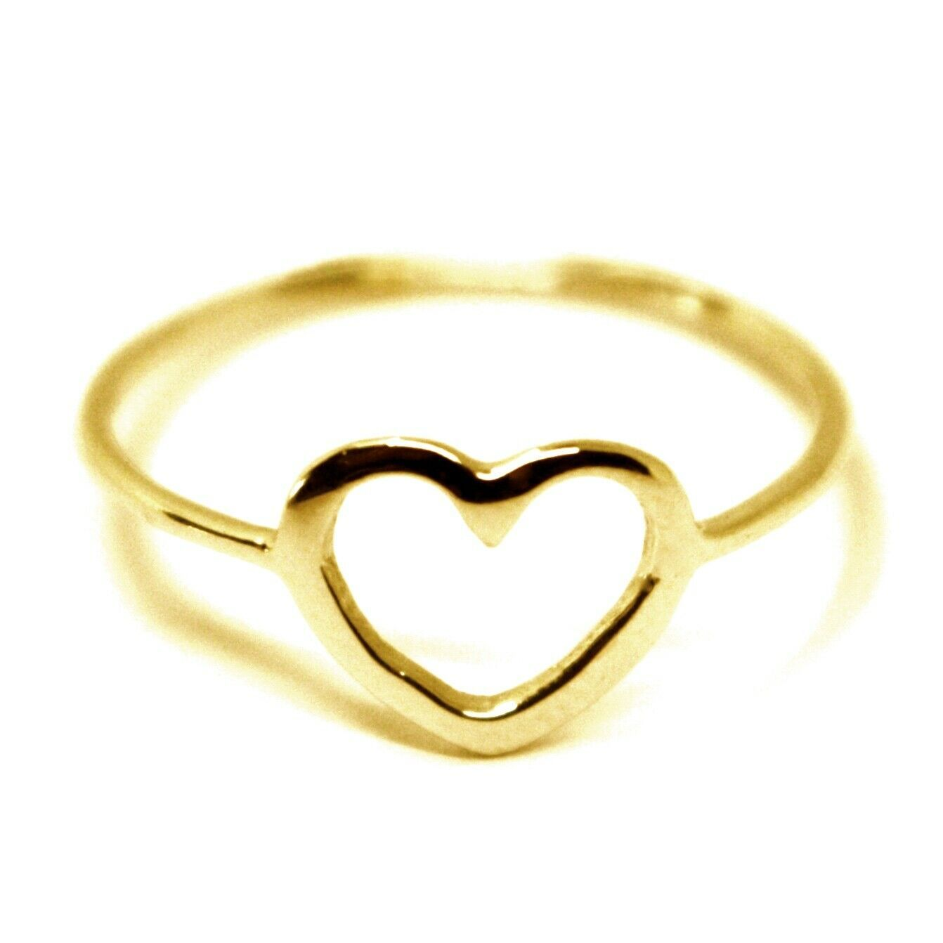 SOLID 18K YELLOW GOLD HEART LOVE RING, 10mm DIAMETER FLAT HEART CENTRAL, SMOOTH