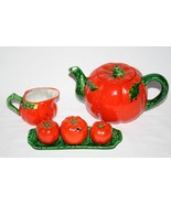Vintage Occupied Japan Tomato Tea Pot, Salt & Pepper, Condiment Set   #1950 - $34.00