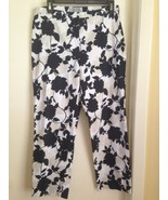 Brooks Brothers Stretch Cotton White Black Tan Floral Pants 10 - $17.35