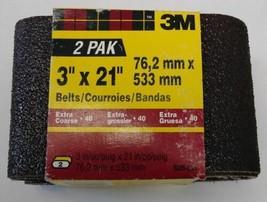 "3M 9285-2NA 3"" x 21"" Extra Coarse 40 Grit Sanding Belts 2 Pack - $3.22"