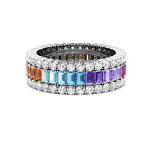 925 Sterling Silver Multicolor Gemstone Cocktail Ring Different Color Gem  - $33.54
