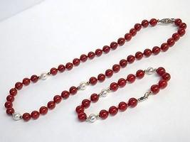 VTG Red Beaded Necklace & Bracelet Set Pearl Accent Beads 14kt Gold Fill... - $15.15