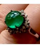 Solid Platinum 4.34TCW Glowing Translucent Emerald diamonds halo ArtDeco... - $2,118.50