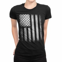 Nyc Factory Usa Flag Tee Ladies T-Shirt Womens Vintage Retro I usa-flag-... - $17.98