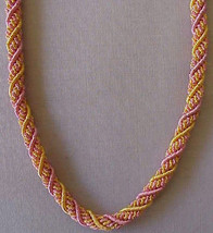 "Woven, Braided, Bullion, Rope Necklace. 22"" Pink & Gold. Artisan Handcra... - $15.83"