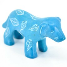 Vaneal Group Hand Crafted Carved Soapstone Light Blue Standing Puppy Dog Figure image 1