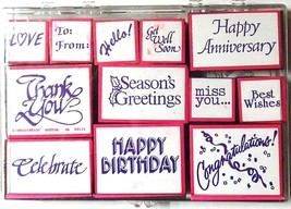 Sentiments Foam Stamp Set Wishes Occasions Holiday Inkadinkado 12 ct.  - $9.86