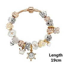 VIOVIA Fashion Jewelry Heart Charm Bracelets & Bangles Gold Color Chain ... - $10.15
