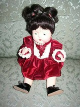 "Vintage, 12"" Composition Baby Doll in Burgundy Velvet Dress - $56.95"