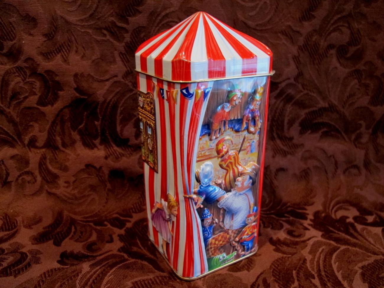 Churchills PUNCH And JUDY Money Box Piggy Bank Tin Vintage Puppets Souvenir