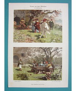 LIFE in Middle Ages Garden Party Dinner - 1894 COLOR Print Dekorative Vo... - $17.96
