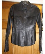 Lia Kes Leather Top Blouse Sz 2 Flower Cuff Sle... - $198.00