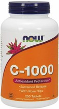 NOW Supplements Vitamin C-1000 w/ Rose Hips Sustained Release 250 Tabs 12/2022 - $18.99