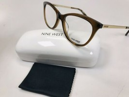 New Nine West NW8004 210 Crystal Brown & Gold Eyeglasses 52mm with Case & Cloth - $44.50
